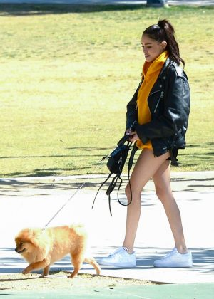 Madison Beer with her Pomeranian dog in Los Angeles