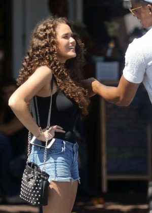Madison Pettis in Jeans Shorts at Fred Segal's in West Hollywood