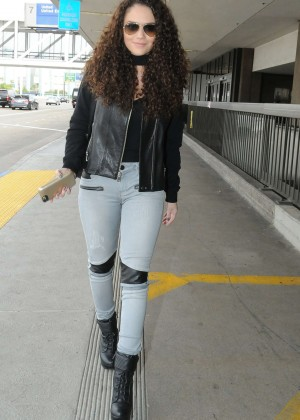Madison Pettis in Jeans at LAX airport in Los Angeles