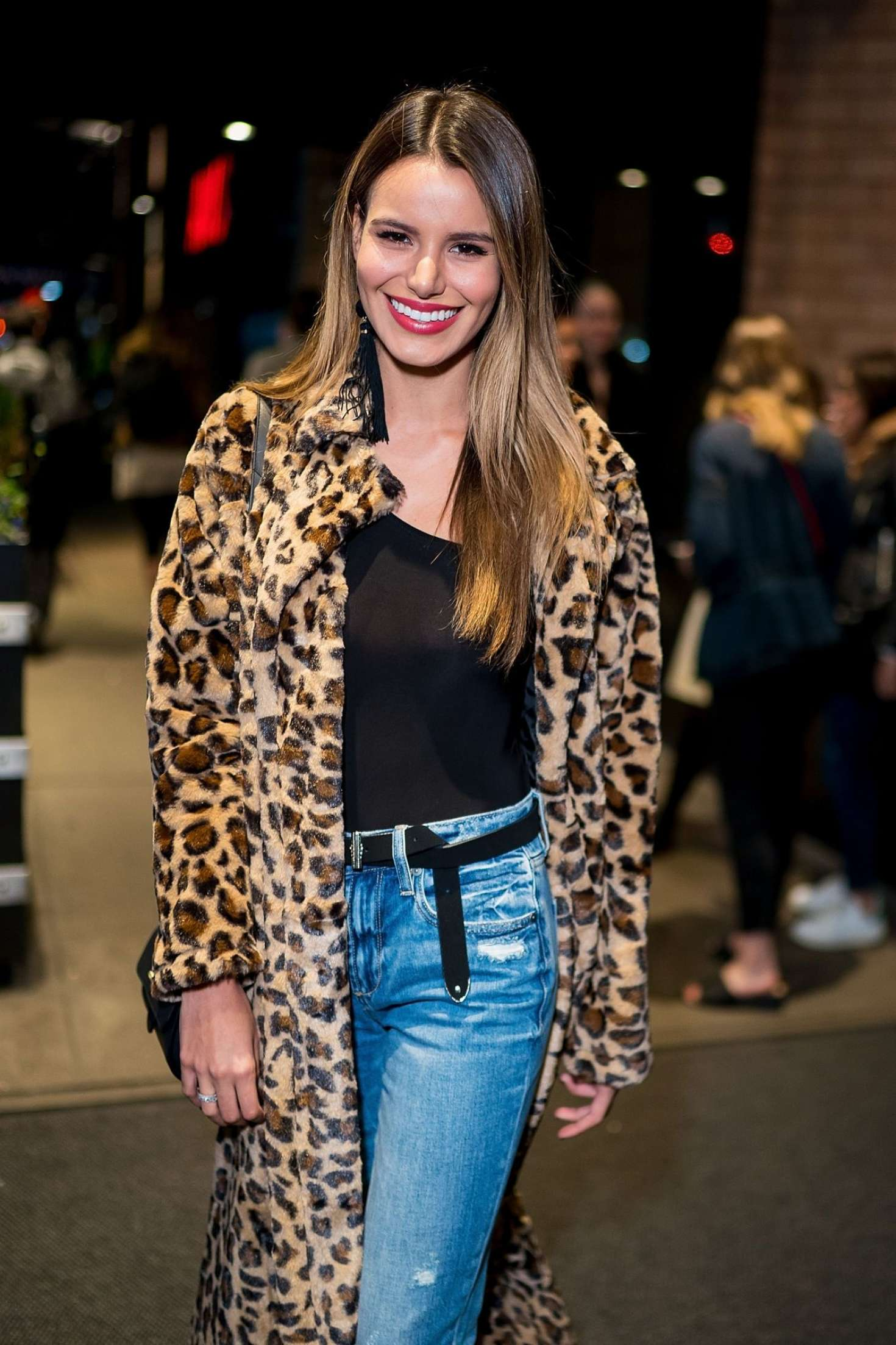 Madison Reed in Animal Print Coat – Leaving her Hotel in New York