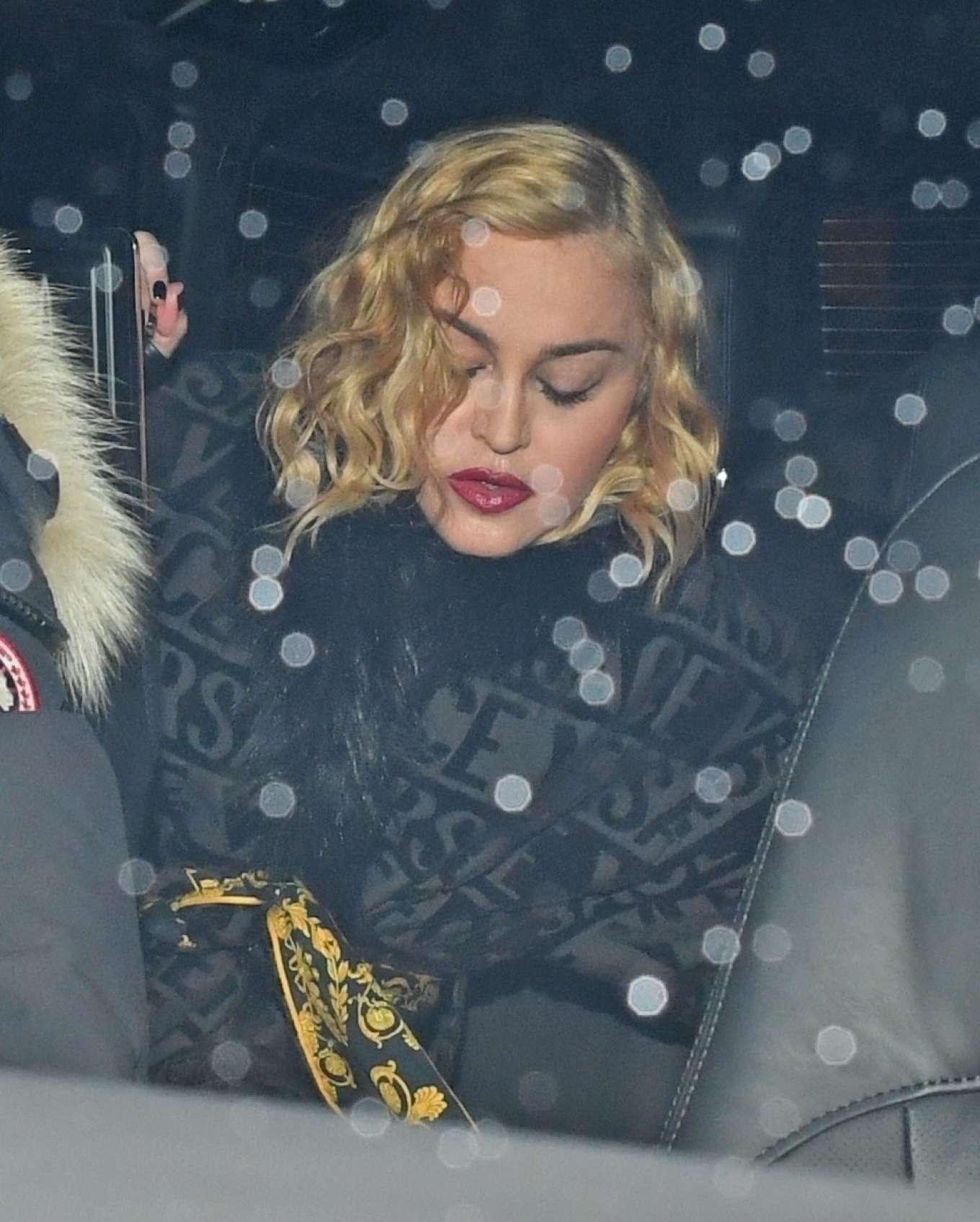 Madonna - Looking glum as she leaves London Paladium
