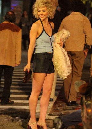 Maggie Gyllenhaal on the set of 'The Deuce' in NY
