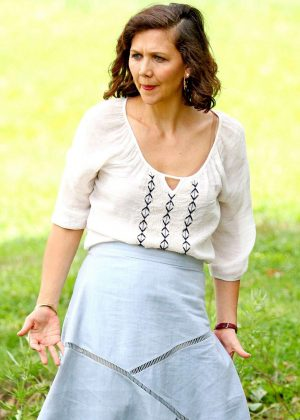 Maggie Gyllenhaal on the set of 'The Kindergarten Teacher' in NYC