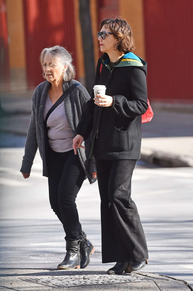 Maggie Gyllenhaal with her mother Naomi out in Soho
