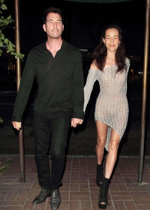 Maggie Q in Tight Dress Night Out in Hollywood