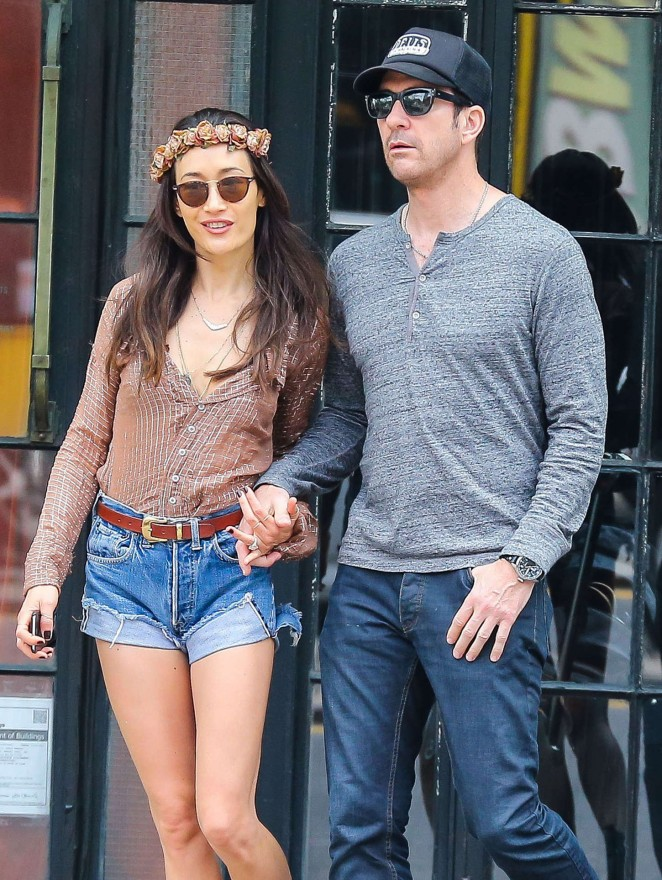 Maggie Q in Denim Shorts Out in NYC