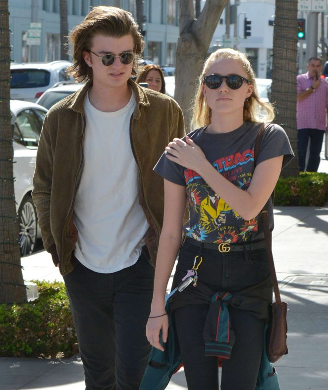 Maika Monroe and Joe Keery at Il Pastaio in Beverly Hills