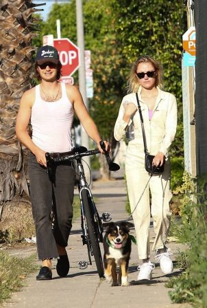 Maika Monroe - Out for dog walk in West Hollywood