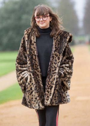 Maisie Williams in a Leopard Print Fur Coat - Visited St John's College in Cambridge