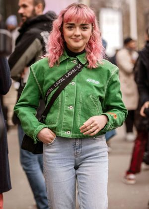 Maisie Williams in Green Jacket at Heron Preston Show in Paris