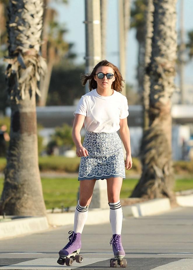 Maisie Williams 2016 : Maisie Williams in Mini Skirt Roller Skating -14