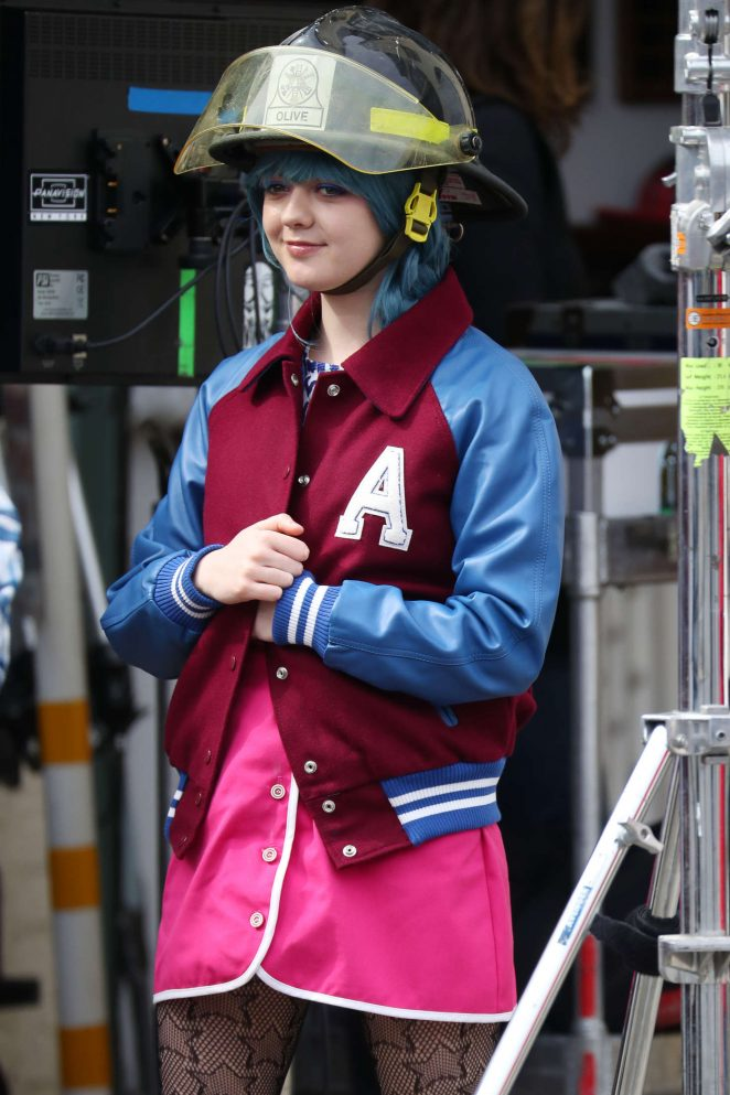 Maisie Williams on the set of 'Departures' in New York
