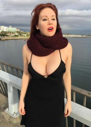 Maitland Ward in Black Dress out in Long Beach