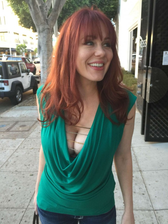 Maitland Ward in Green Shirt out in Los Angeles
