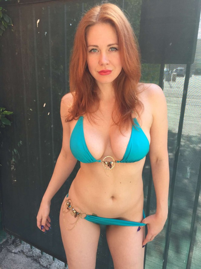Maitland Ward in Blue Bikini in Santa Monica