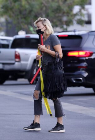 Malin Akerman - Carries sons nunchucks and yellow belt to karate class in Los Angeles