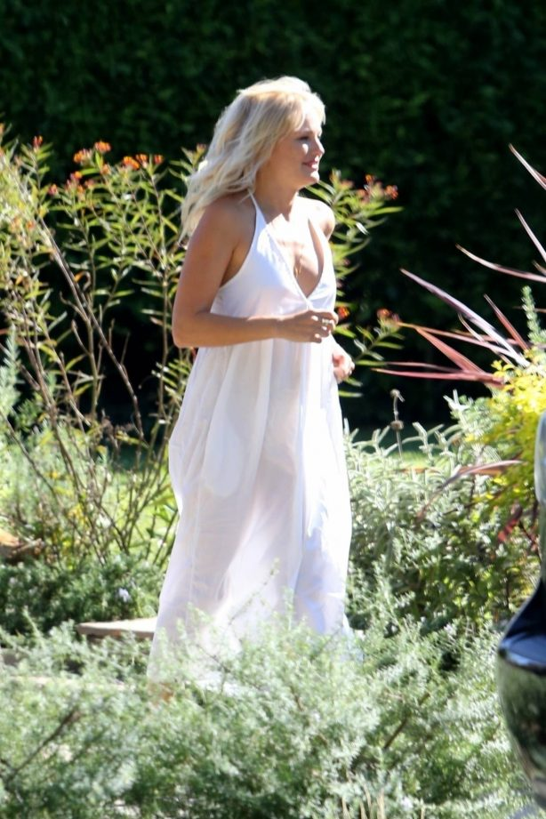 Malin Akerman - In a white summer dress as she visits some friends in Los Feliz