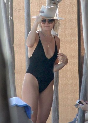 Malin Akerman in Black Swimsuit at a beach in Mexico