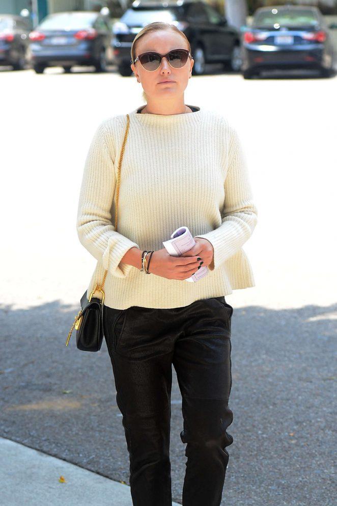 Malin Akerman in leather pants in LA