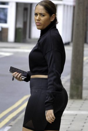 Malin Andersson in Black Outfit out in London
