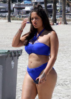 Malin Andersson in Blue Bikini on holiday in Majorca
