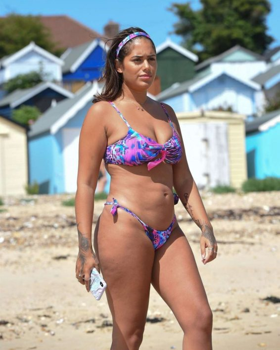 Malin Andersson in Floral Bikini on the beach in Essex