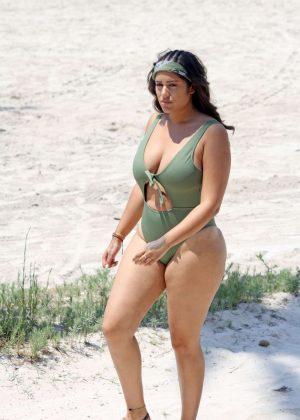 Malin Andersson in Swimsuit on the beach in Palma de Mallorca