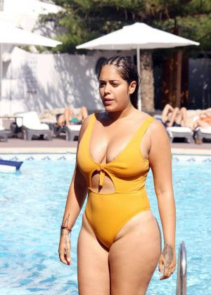Malin Andersson in Yellow Swimsuit on holiday in Majorca