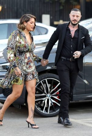 Malin Andersson - Out in her patterned floral dress in Essex