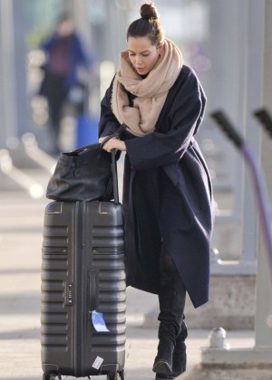 Mandy Capristo at Heathrow Airport in London