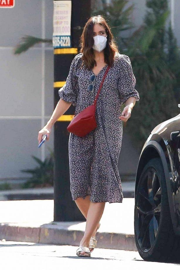 Mandy Moore - In a flow dress running errands in Los Angeles