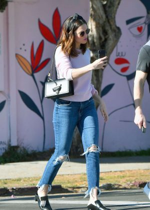 Mandy Moore in a pink sweater and jeans out in Los Angeles