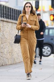 Mandy Moore in Brown Jumpsuit with her husband Out in Los Feliz