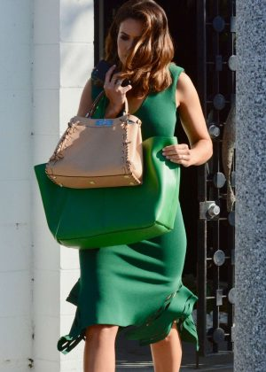Mandy Moore in Green Dress - Leaves a hair salon in West Hollywood