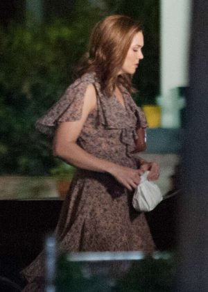 Mandy Moore on the set of 'This is Us' with Milo Ventimiglia in LA