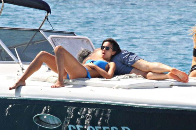 Mara Carfagna in Bikini on a boat in Sardinia