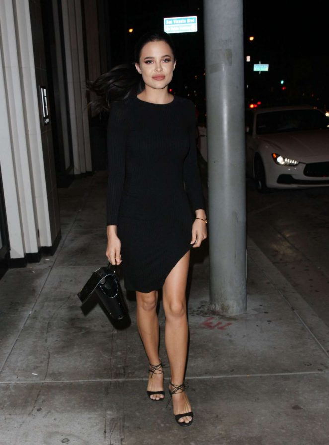 Mara Teigen in Black Mini Dress at Catch LA in West Hollywood
