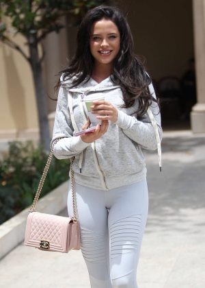 Mara Teigen in white leggings out in Beverly Hills