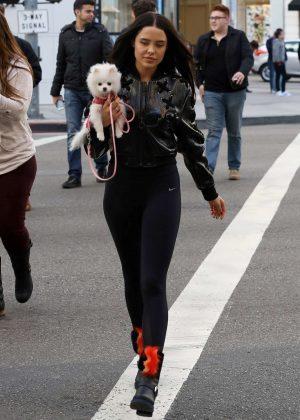 Mara Teigen with her dog shopping in Beverly Hills