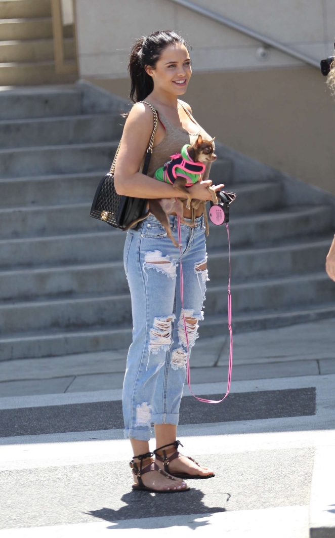 Mara Teigen with her puppy out in Beverly Hills