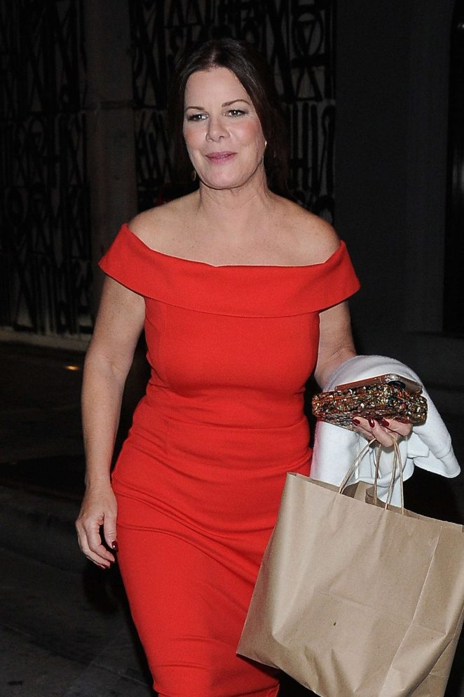 Marcia Gay Harden in Red Dress at Craig's Restaurant in Los Angeles