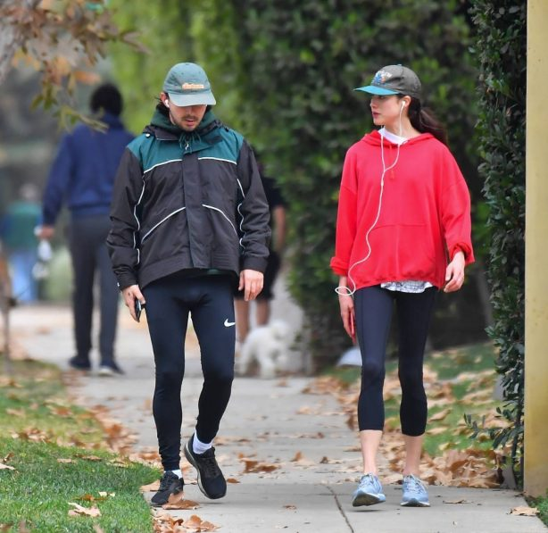 Margaret Qualley and Shia LaBeouf - Jog candids in the Pasadena