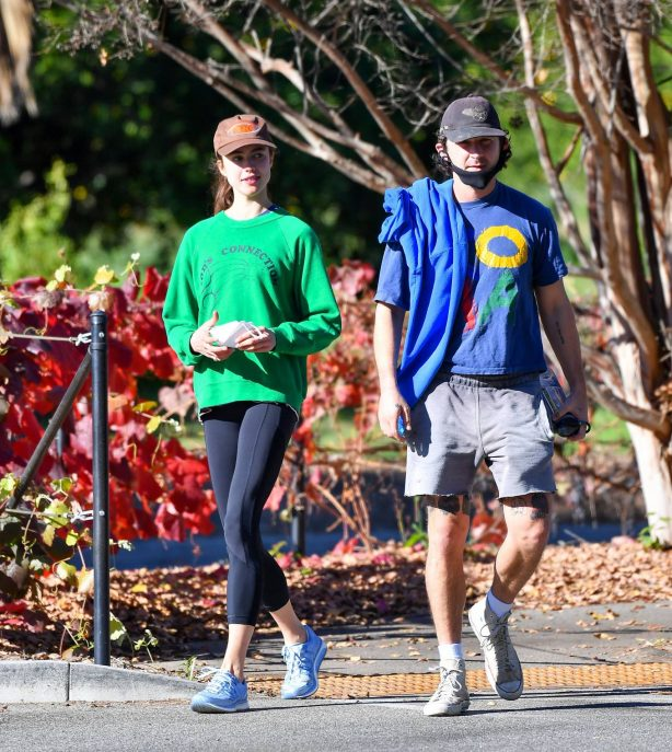 Margaret Qualley and Shia LaBeouf - Out for a walk in Pasadena