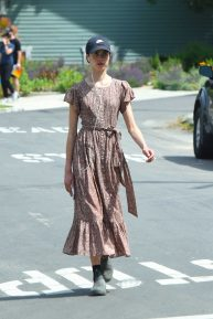 Margaret Qualley in a floral print dress in Los Angeles