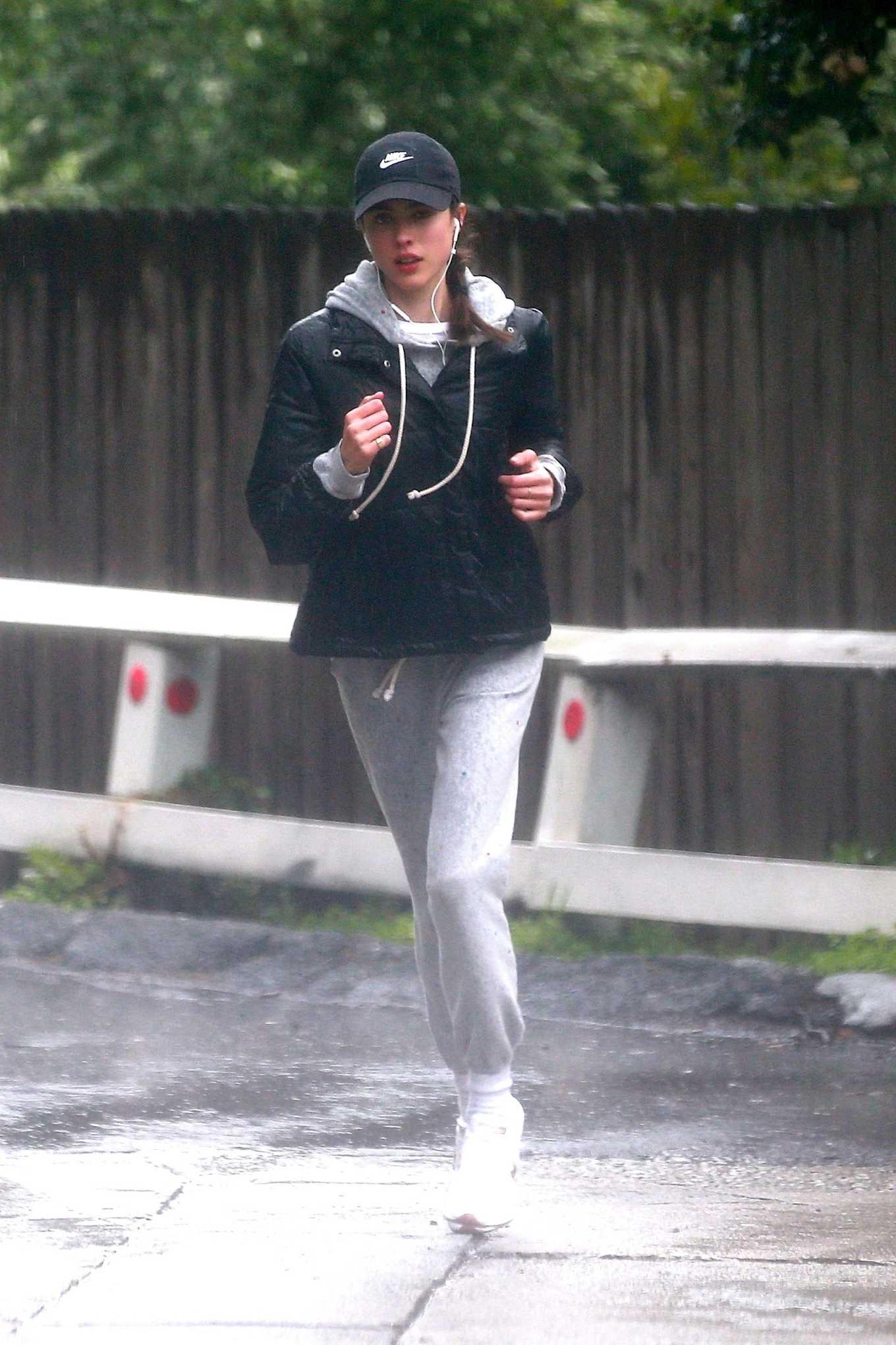 Margaret Qualley 2020 : Margaret Qualley – Jog on rain day-01