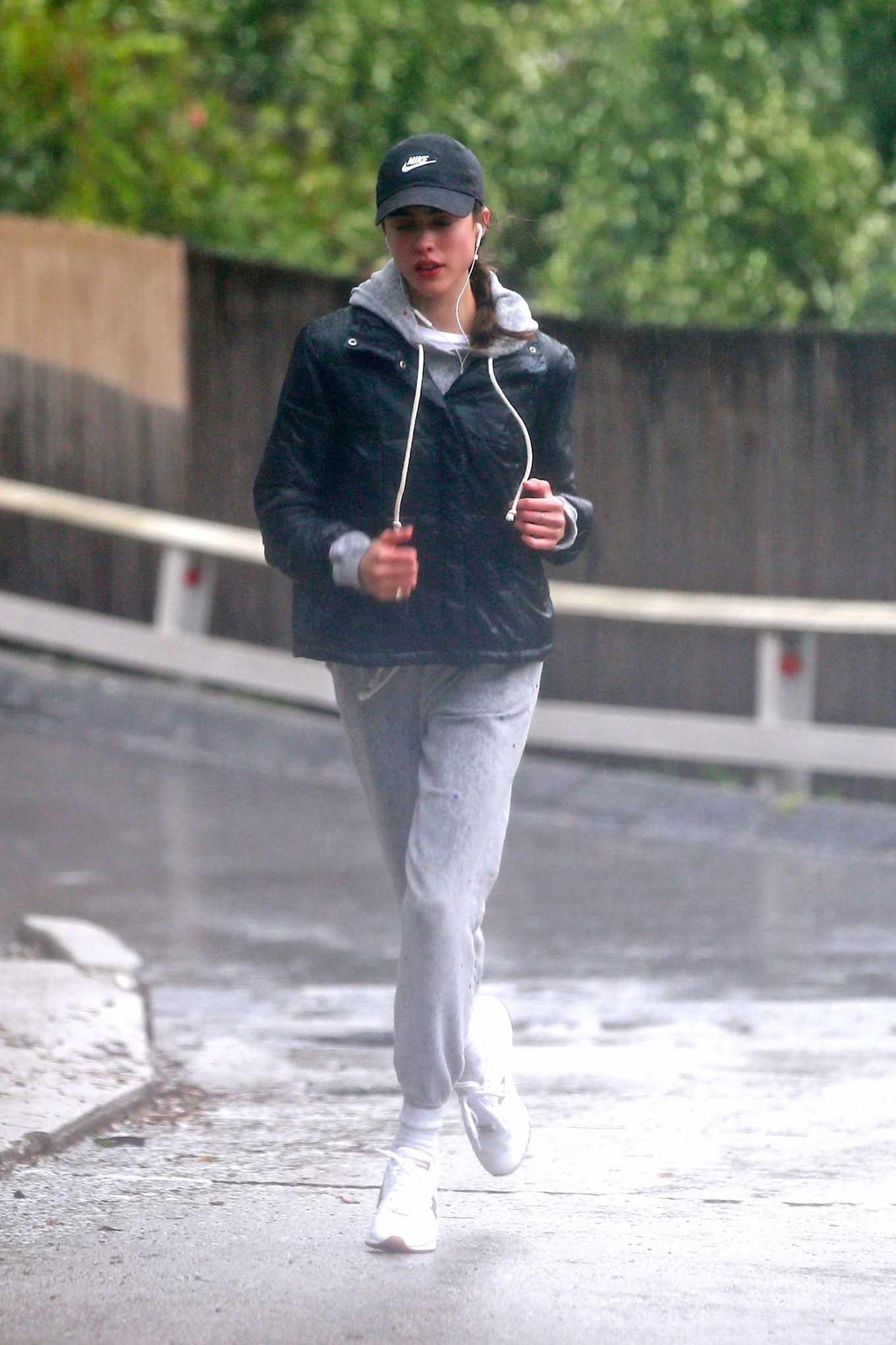 Margaret Qualley 2020 : Margaret Qualley – Jog on rain day-05