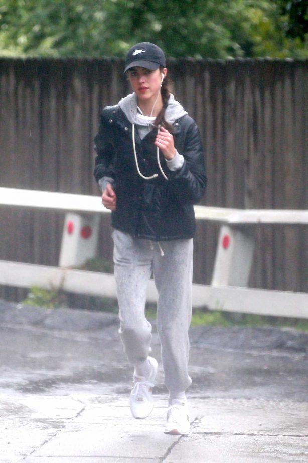 Margaret Qualley - Jog on rain day