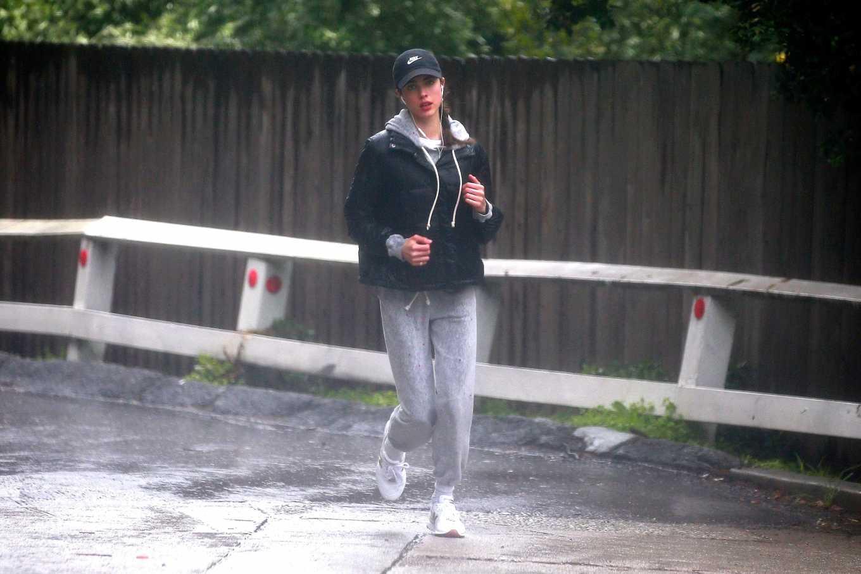 Margaret Qualley 2020 : Margaret Qualley – Jog on rain day-09