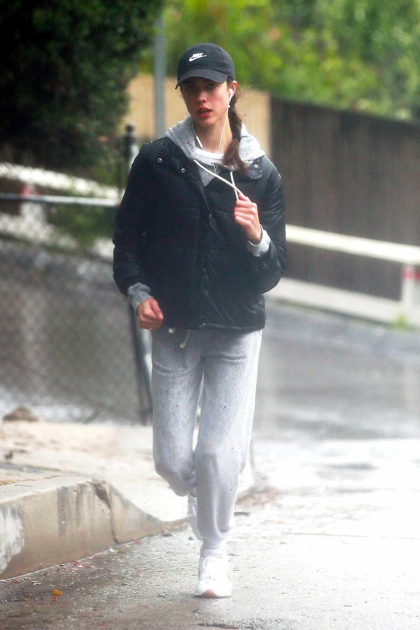 Margaret Qualley 2020 : Margaret Qualley – Jog on rain day-13