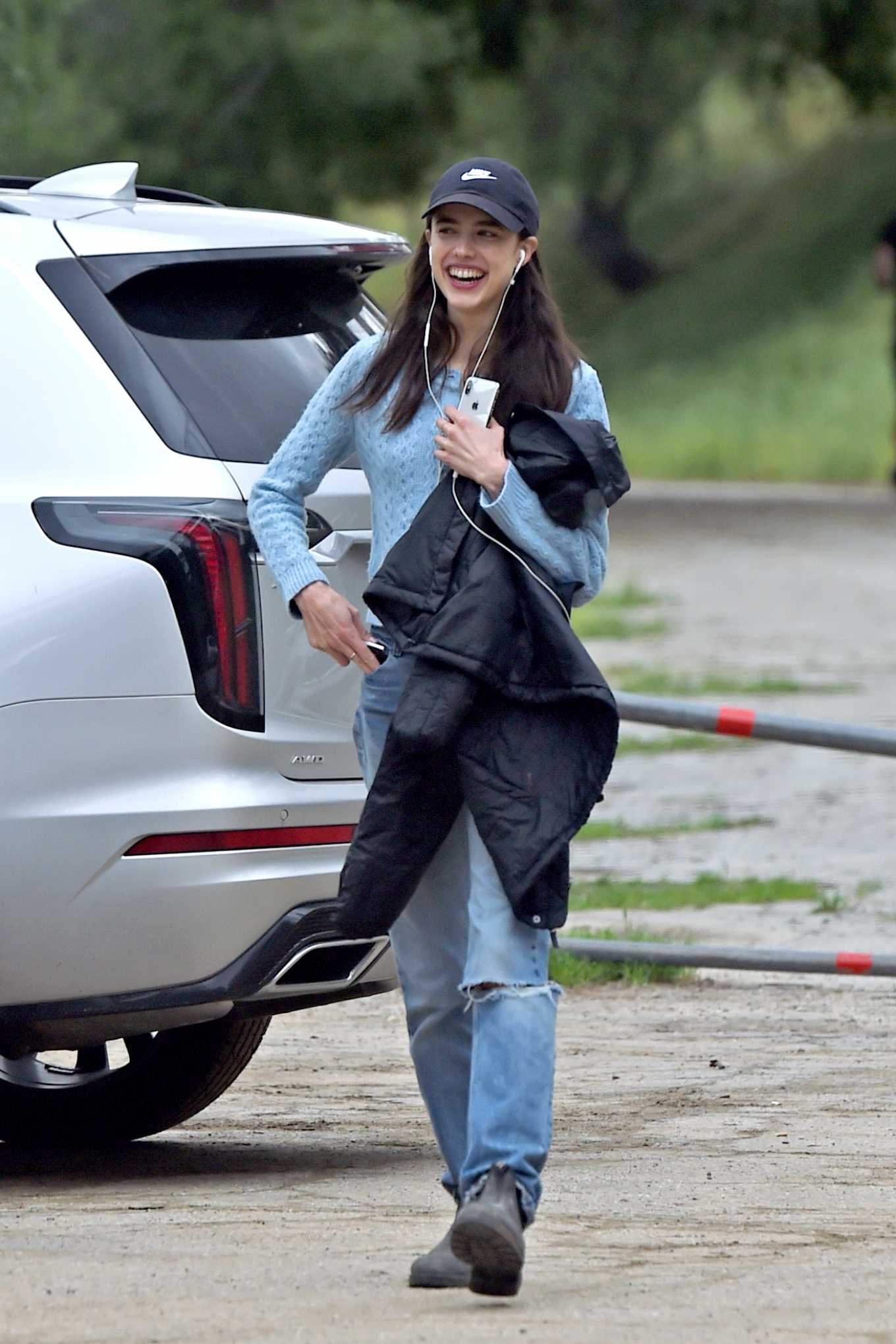 Margaret Qualley on a hike in Los Angeles